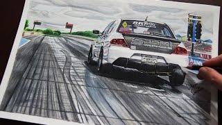 MITSUBISHI EVO 8 Drag Racer #1 | Realistic Car Drawing