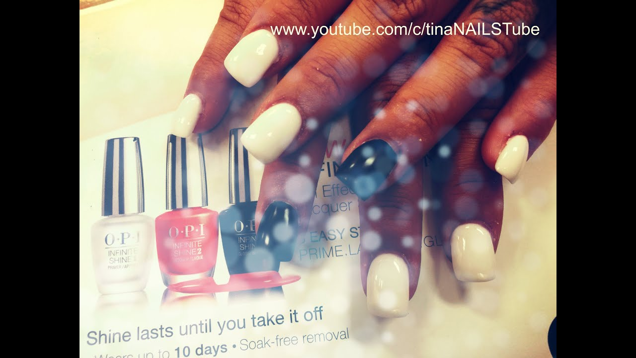 How To Acrylic White Nails Full Set Square Shaped Part 2