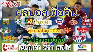 ผลบอลเมื่อคืนนี้/โปรแกรมบอล/ฟุตบอลโลก 2022/ไทยลีก/ยู-21 ชิงแชมป์ยุโรป/เซกุนด้า ลีกา สเปน/4/9/21