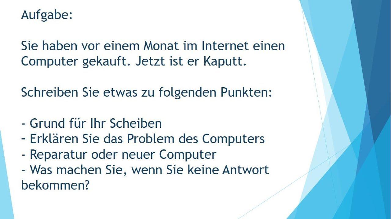 Computer Reklamation Brief Schreiben Zur Prüfung B1 Youtube
