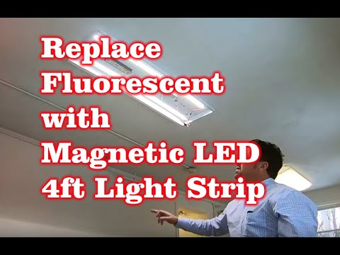 Review and Install of Amazon 4FT Magnetic LED Retrofit Kit to Replace Fluorescent Lights
