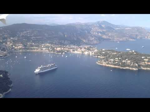 Landing at Nice France with Monaco Cap Ferat and Villefranche sur Mer