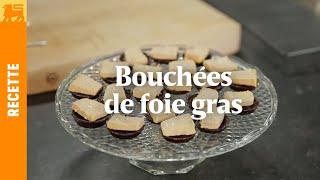 Bouchées de foie gras, croustillants de cacao et noisettes