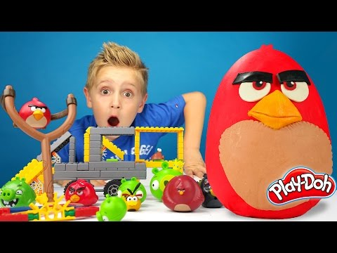 Angry Birds Kinder Play-Doh Surprise Egg with Hot Wheels Track and K'Nex Build Unboxing | KIDCITY