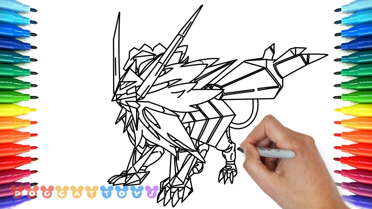 How To Draw Dusk Mane Necrozma Pokemon Ultra Sun Drawing Coloring Pages For Kids Youtube