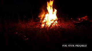 Ночь, Огонь, Костер, река, пламя, звуки природы, на природе, релакс, медитация, пение птиц, дзен