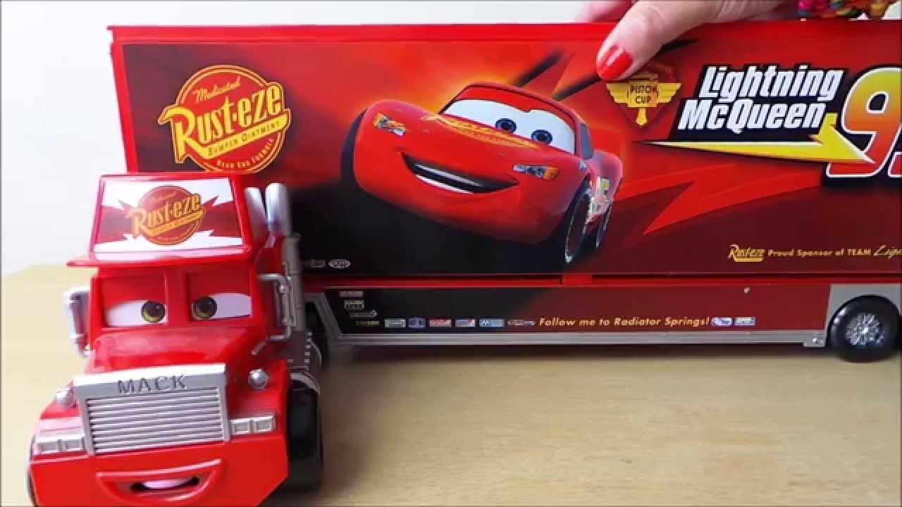 Disney Pixar Cars 2 Film Mack Semi Trailer Car Transporter Truck