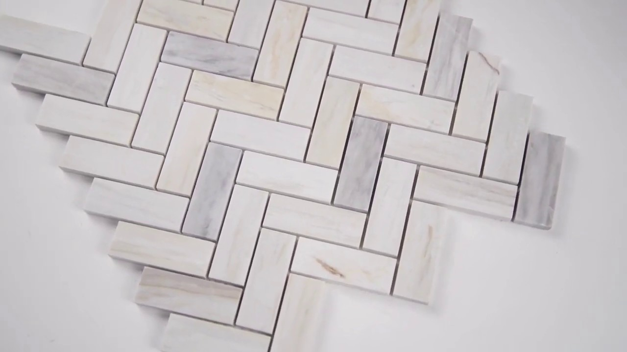 angora herringbone pattern polished mosaic wall tile 101419284