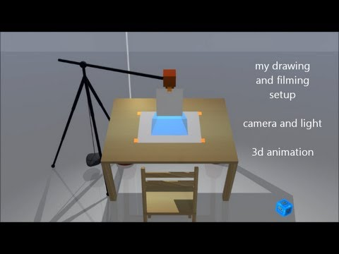 how to film a speed drawing, camera and light setup, 3d animation