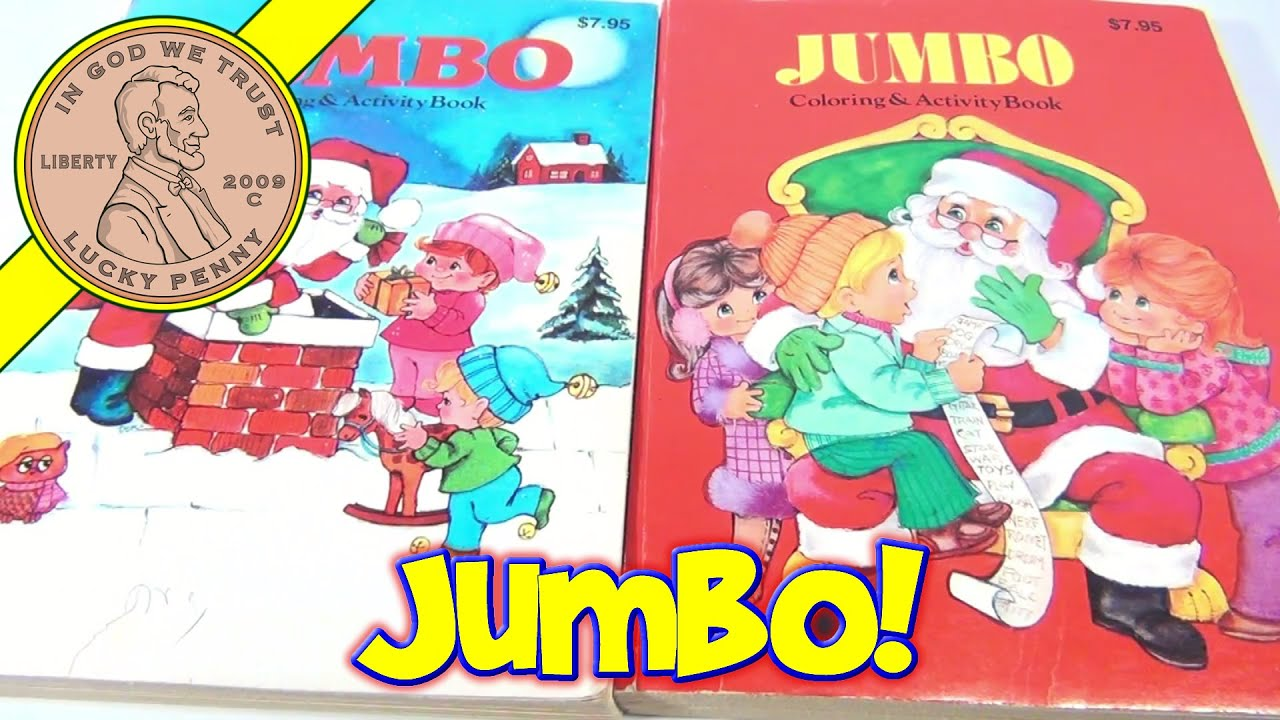 vintage 70's christmas jumbo coloring activity books, creative color