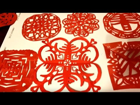 Simple Origami & Paper Cutting  - DIY Chinese New Year Decorations - '春' 剪纸,窗花步骤 - 过年啦, 剪个窗花吧