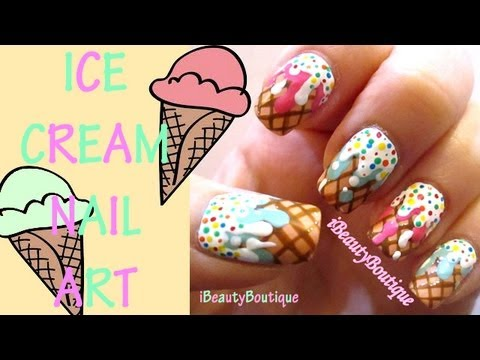 Ice Cream Cone Nails Nail Art Ibeautyboutique Youtube