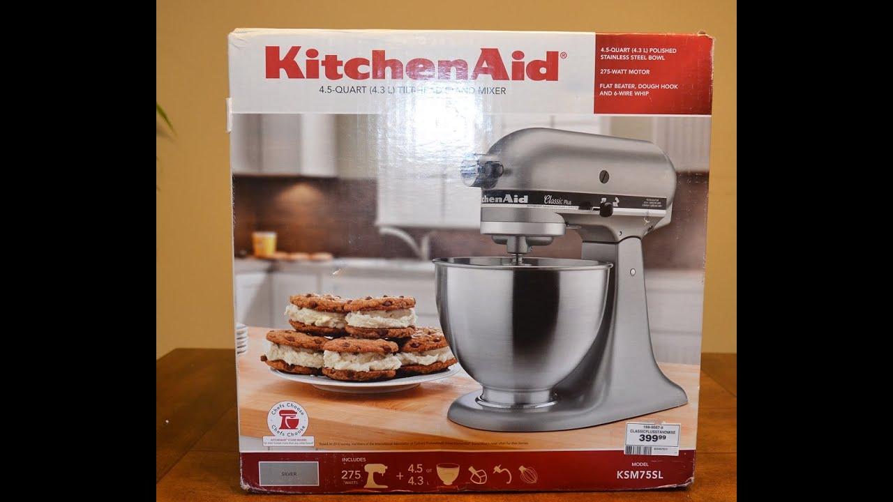 KitchenAid KSM75SL Clic Plus Tilt-Head Stand Mixer - Unboxing ... on