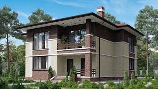 Проект дома в современном стиле из кирпича. Дом с балконом и вторым светом. Ремстройсервис KR-220
