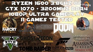 Ryzen 5 1600 + GTX 1070 - 1080p Ultra Gaming Benchmarks - 11 Games Tested