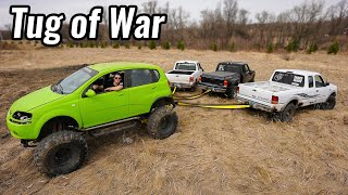 Tug of War Against 3 Ford Rangers