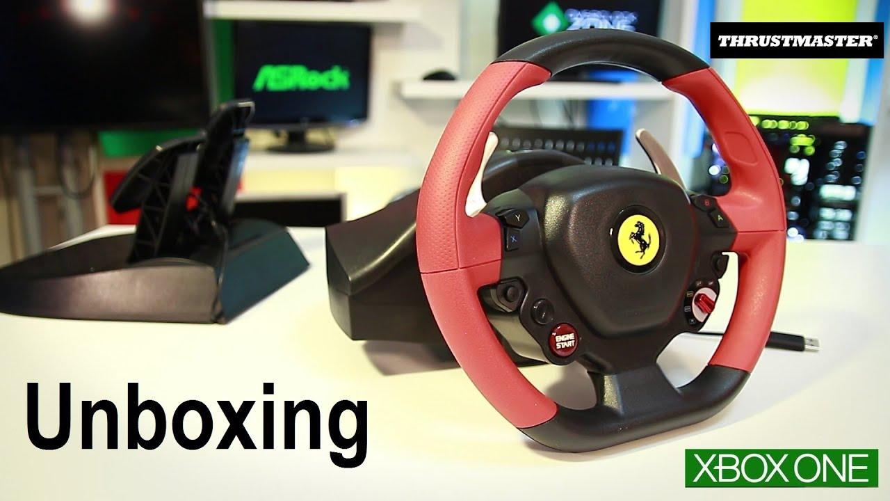 unboxing volante thrustmaster ferrari 458 spider xbox one. Black Bedroom Furniture Sets. Home Design Ideas