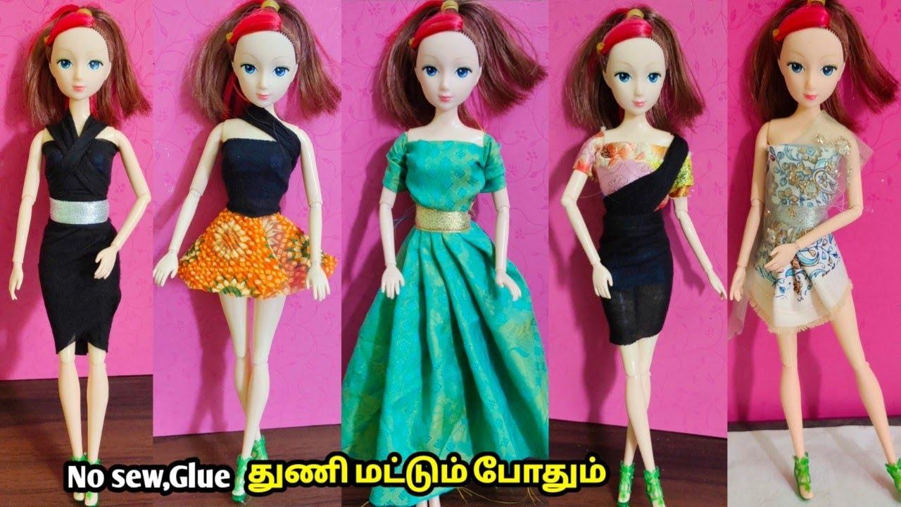 No sew No glue Barbie doll dress making/துணி மட்டும் போதும் நீங்களே செய்யலாம்/craft tamil