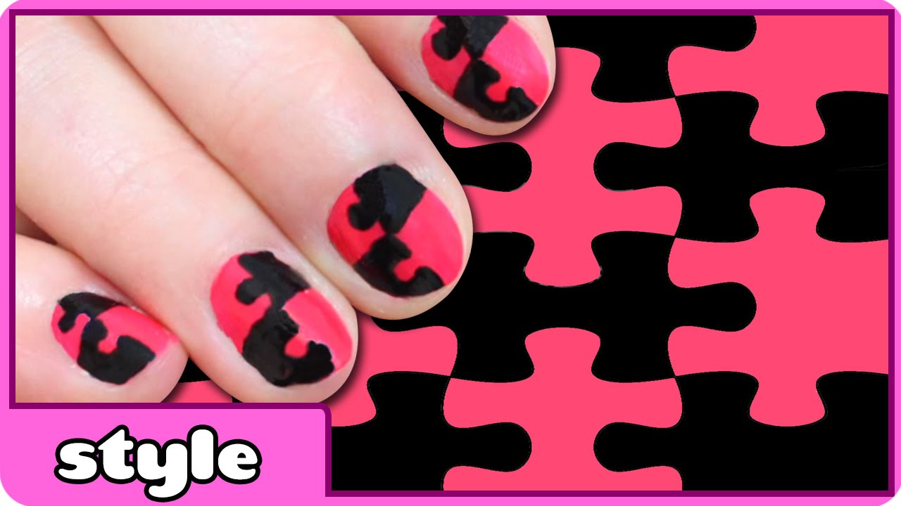 Puzzle nail art design puzzle nails tutorial for kids youtube prinsesfo Image collections