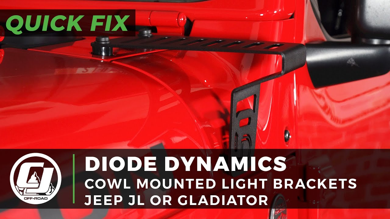 2018-2020 Jeep JL or Gladiator Install | Diode Dynamics Cowl Mounted Light Brackets