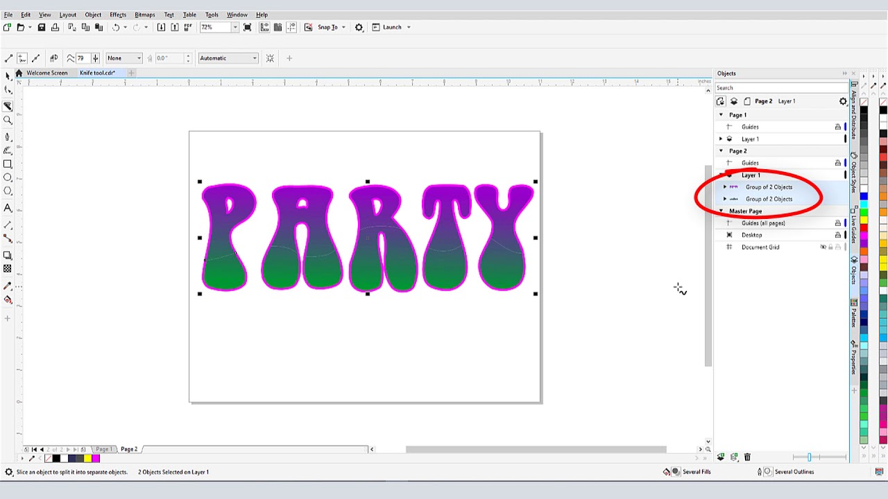 How to Split Objects with the Knife Tool in CorelDRAW