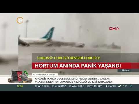 Antalya Havalimanı'nda hortum anı amatör kamerada