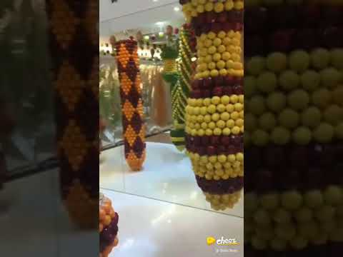 Party hall decorated with fresh fruit
