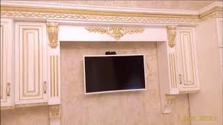 Кухня. Фасад ясень, эмаль белая, патина золото.