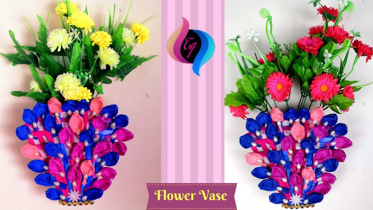 Paper flower vase making step by step