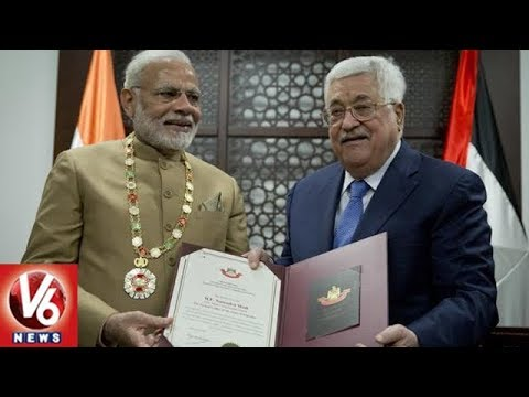 PM Narendra Modi Conferred Grand Collar Of The State Of Palestine | V6 News
