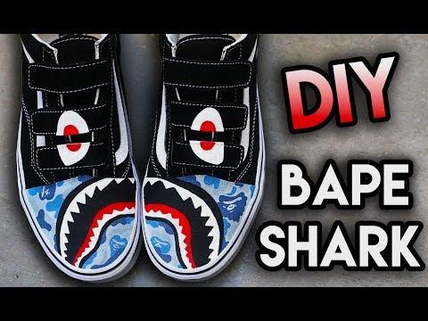 HOW TO: BAPE SHARK TEETH YOUR SHOES ! SUPER EASY STENCIL METHOD | VANS CUSTOM