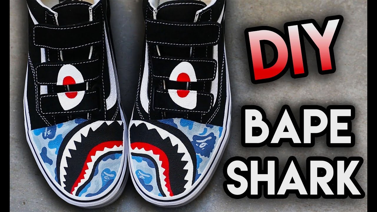a4fc0cd70e8d HOW TO  BAPE SHARK TEETH YOUR SHOES ! SUPER EASY STENCIL METHOD ...