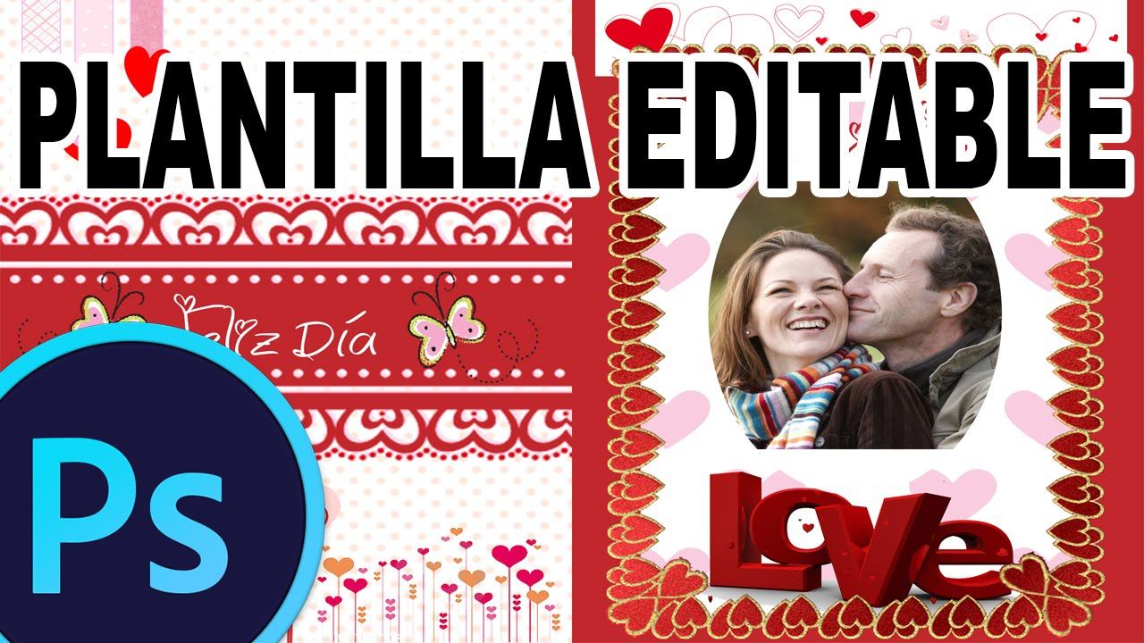 Cartao De Amor Para Photoshop: TARJETA DE AMOR EDITABLE PSD