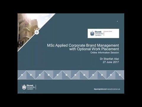 Applied Corporate Brand Management MSc | June 2017