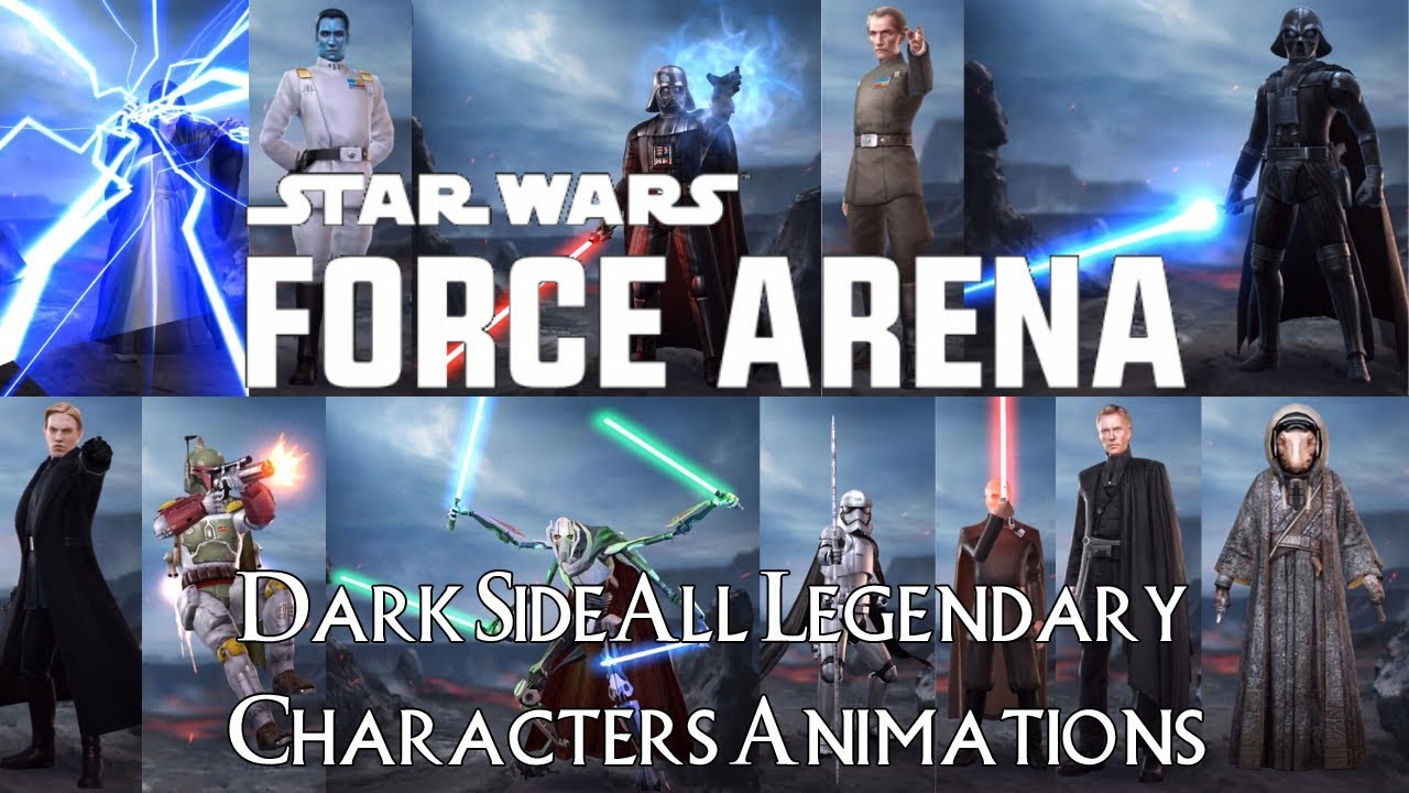 Star Wars Force Arena All Dark Side Legendary Cards Characters Animations