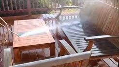 Teak patio furniture cleaning and restoration in 2 minutes