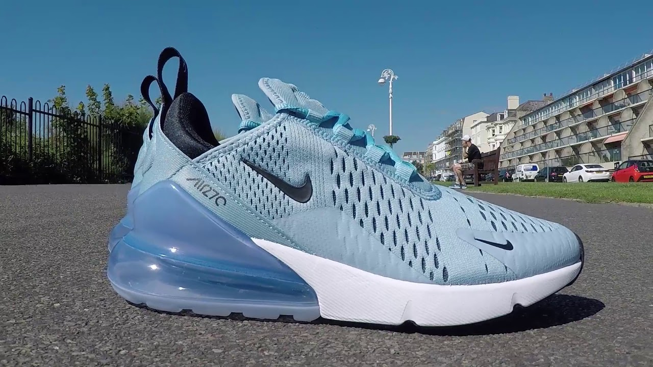 c204c084157e Nike Air Max 270 Leche Blue Black White AH8050 402 - YouTube
