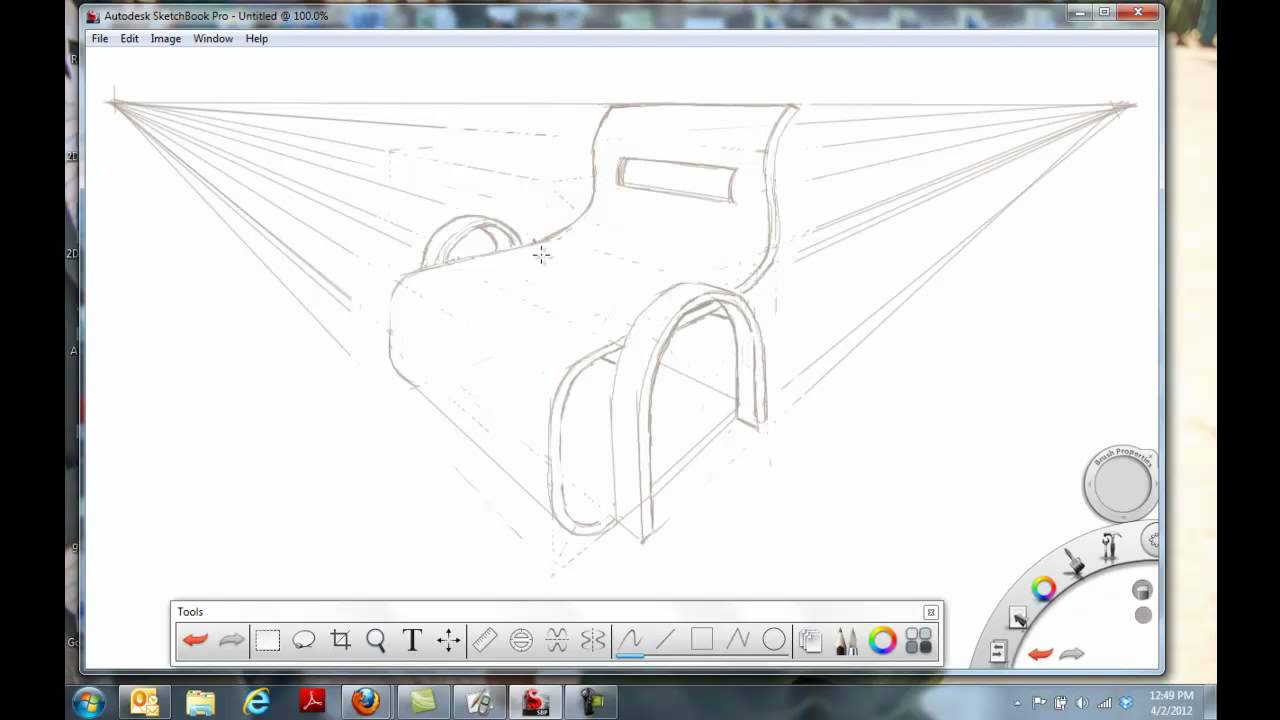 Drawing A Chair In 2 Point Perspective Youtube