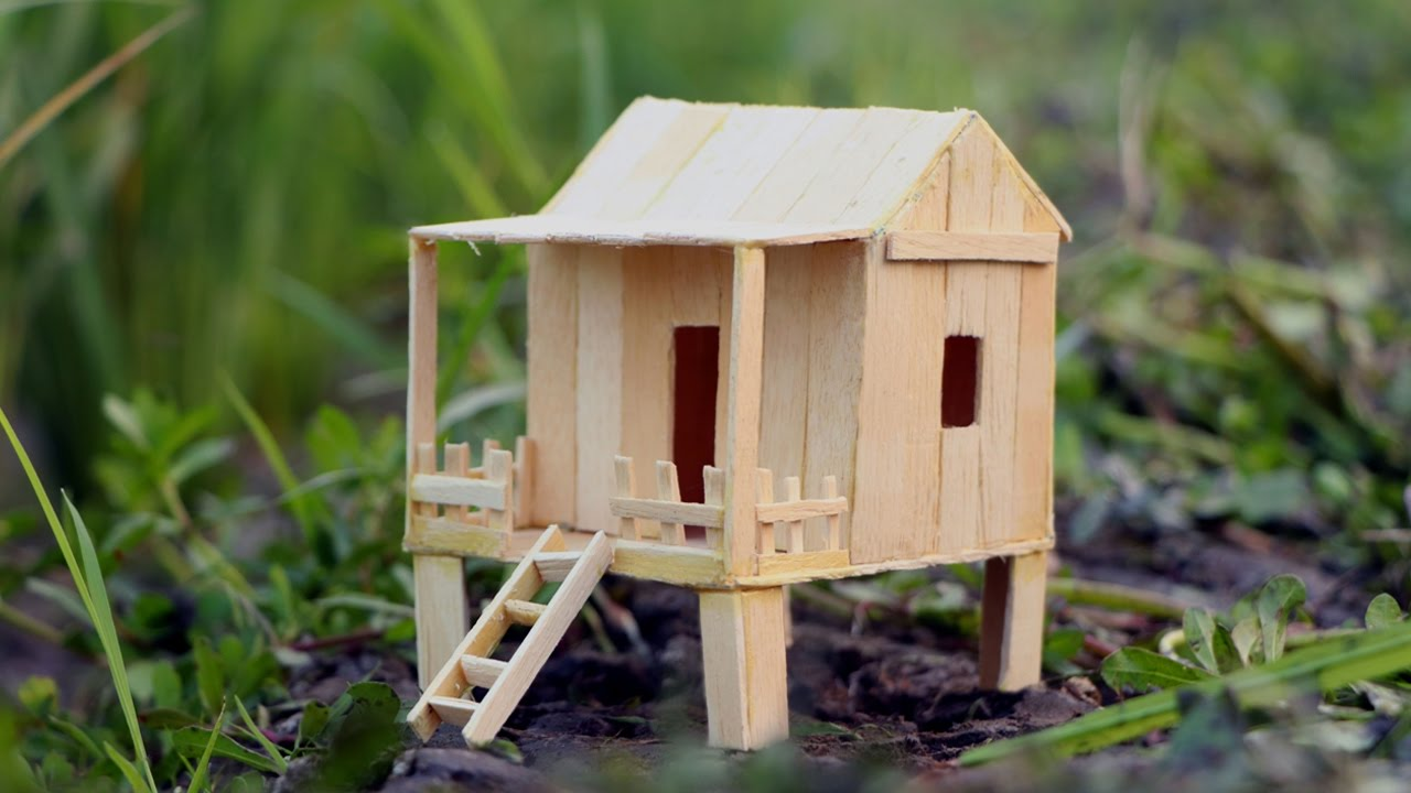 how to make a popsicle stick house - hamster diy mini house - youtube