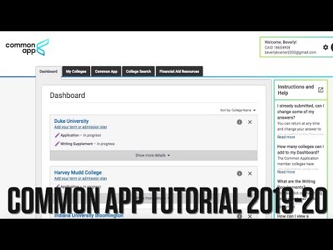 How to Guide to the Common Application 2019-2020  Tutorial
