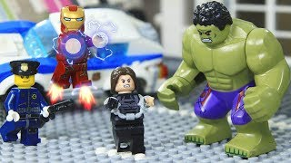 Lego IRON MAN & Hulk vs Winter Soldier Bank Robber