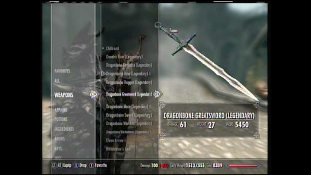 Skyrim Xbox 360 Dragonbone Weapons Youtube