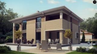 видео Проект кирпичного двухэтажного дома c гаражом общей площадью 285.80 м2