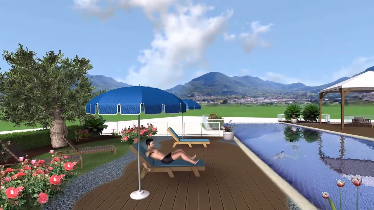 Green art sicily rendering 3d prato inglese e piscina con for Piscina 3d