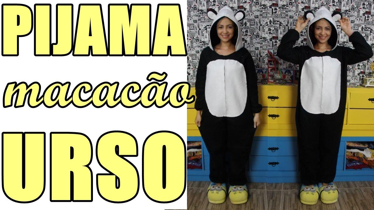 a4ce0659dd5f8b Como fazer pijama macacão de urso panda com costura à mão Diy - Especial #12