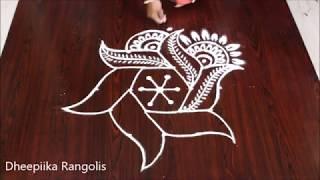 creative new rangoli design with 5x3 dots l easy kolam design l latest muggulu patterns