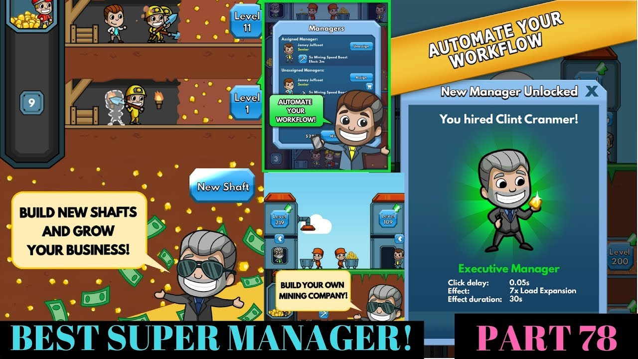 BEST SUPER MANAGER!   Idle Miner Part 78