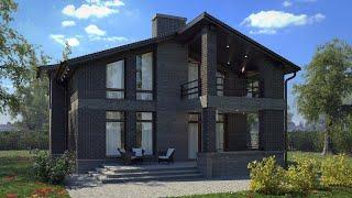 Проект дома в современном стиле из кирпича. Дом с террасой и балконом. Ремстройсервис KR-167