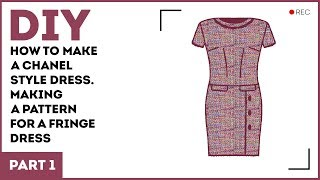 DIY: How to make a Chanel style dress. Making a pattern for a fringe dress.