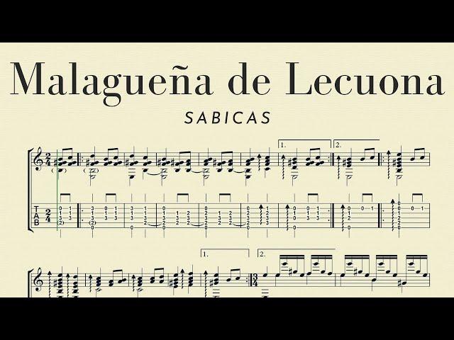 Malagueña de Lecuona Sabicas, score at lower speed for practicing
